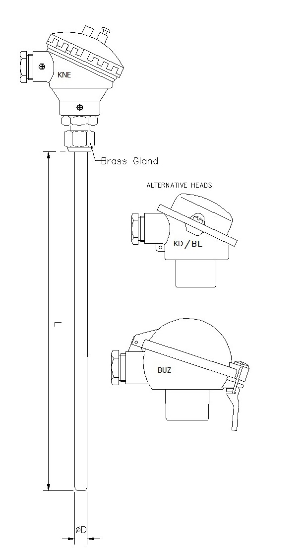 Mineral Insulated TC with Head