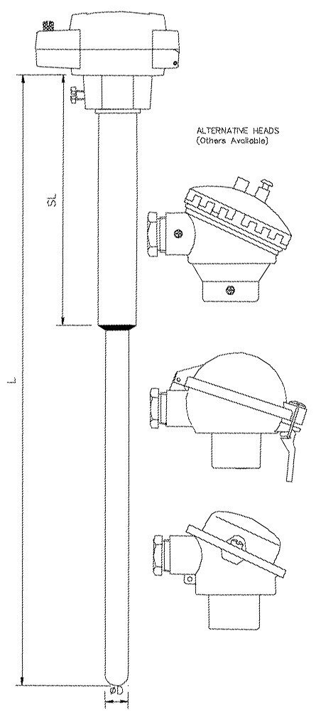 Ceramic Protection Sheath with Shank and Head