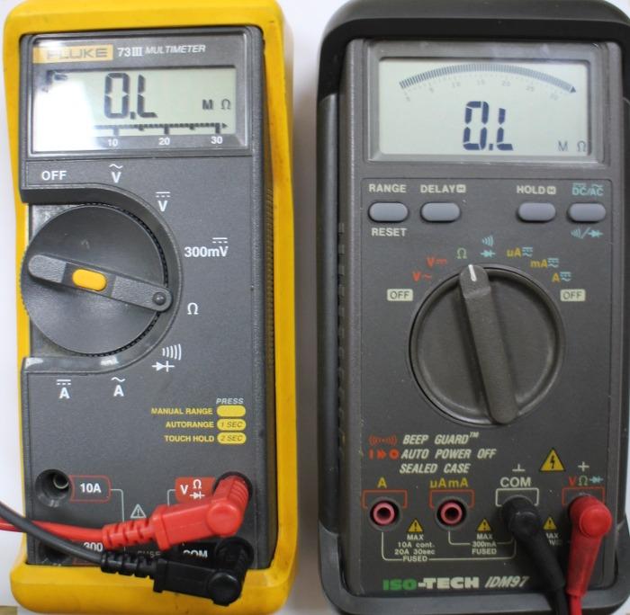 Multimeter set to ohms