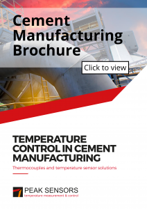 Image of the front cover of the cement manufacturing thermocouples and temperature sensor solutions brochure.